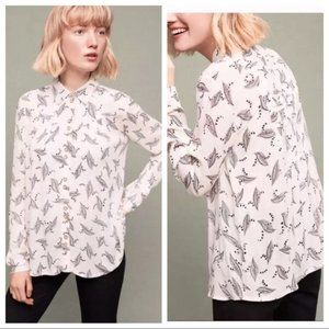 Anthropologie Maeve Button Down Feather Print